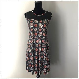 Dia De Muerto Sugar Skull Illusion Skater Dress XL